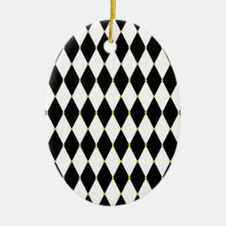 Harlequin Diamond Pattern Ceramic Ornament