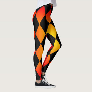 Harlequin ~Diamond Pattern ~ Fire Design ~Leggings Leggings