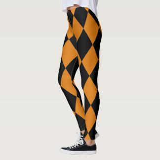 Harlequin ~ Diamond Pattern ~ Pumpkin & Black ~ Leggings