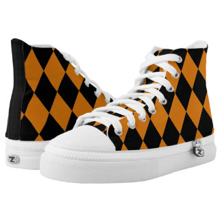 Harlequin ~Diamond Pattern Pumpkin ~Orange & Black High Tops