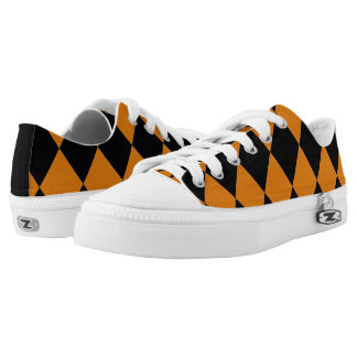 Harlequin ~Diamond Pattern Pumpkin ~Orange & Black Low-Top Sneakers