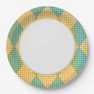 Harlequin_Diamond-Quilt_Melon_Teal_Everyday 9 Inch Paper Plate