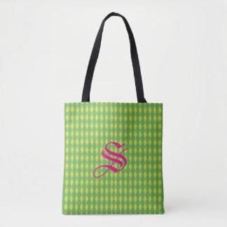 Harlequin Diamonds | Green Tote Bag