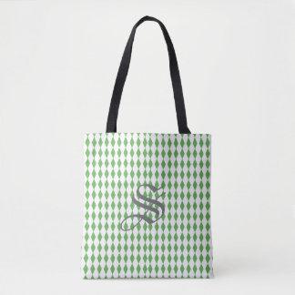 Harlequin Diamonds | Green White Tote Bag