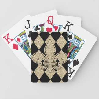 Harlequin-Fleur De Lis-Gift's_Champagne -Black Bicycle Playing Cards