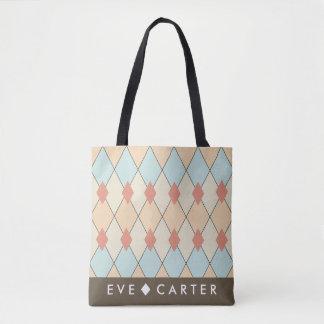 Harlequin Geometric Diamond Print Tote Bag