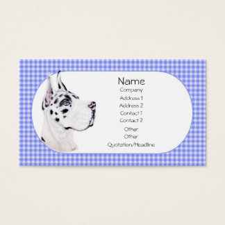 Harlequin Great Dane Blue Check Business Card