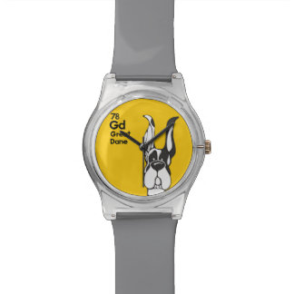 Harlequin Great Dane Cropped Ears - The Dog Table Watch
