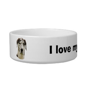 Harlequin Great Dane Pet Portrait Bowl