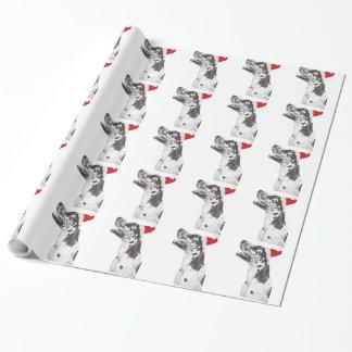 Harlequin Great Dane Santa Hat Wrapping Paper