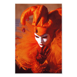 Harlequin in Orange at the Carnival of Venice Photograph