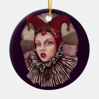 Harlequin Jester  Ceramic Ornament