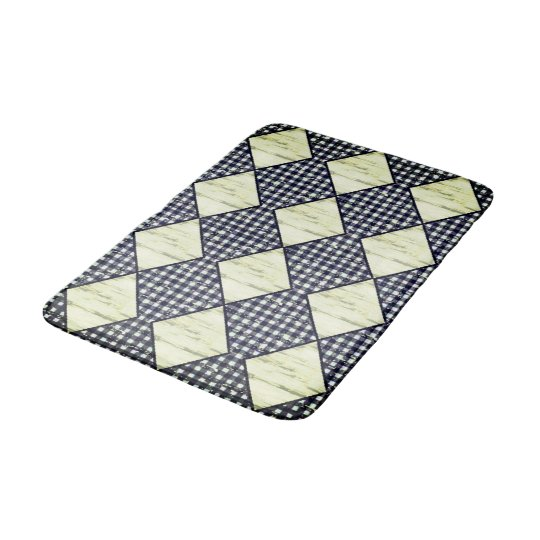 Harlequin-Lime-Wood-Diamonds-Navy-Gingham Bathroom Mat