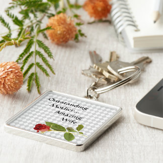 Harlequin Lover Silver-Colored Square Keychain