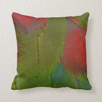 Harlequin Macaw Feather Abstract Throw Pillow