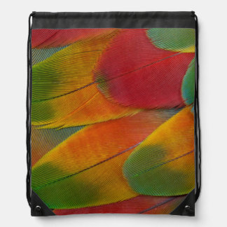 Harlequin Macaw parrot feathers Drawstring Bag