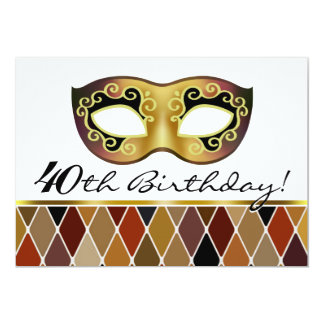 Harlequin Masquerade 40th Birthday Party (taupe) Card