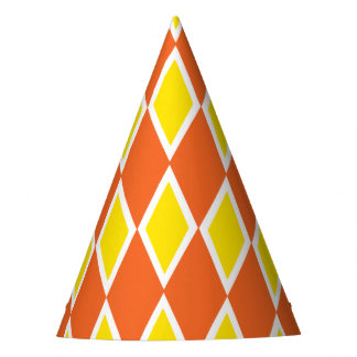 Harlequin Orange and Yellow Party Hat