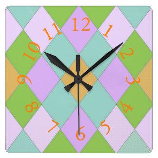 Harlequin_Palace_Courtyard* Colors Square Wall Clock
