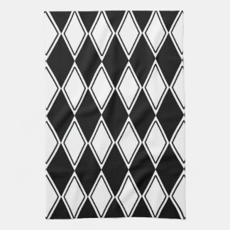 Harlequin Pattern Black and White Kitchen Towel