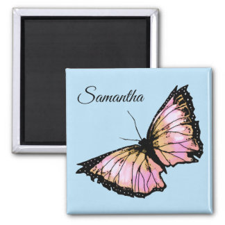 """""""Harlequin"""" - Peach Butterfly Magnet"""