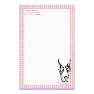 Harlequin Pup Pink Check Stationery