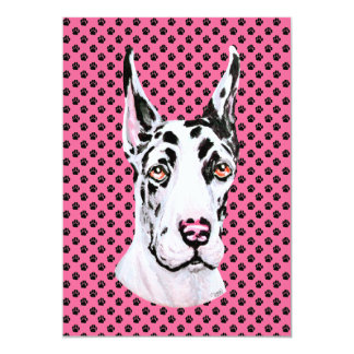 Harlequin Pup Pink Cropped Event or Party Card