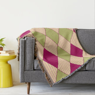 Harlequin_Quilt_Pink Oxford Stripes-Olive-Rose Throw Blanket