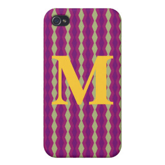 Harlequin Stripes Monogram iPhone 4 Case