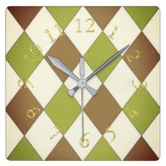 Harlequin_Stylish & Elegant-Lime & Chocolate Square Wall Clock