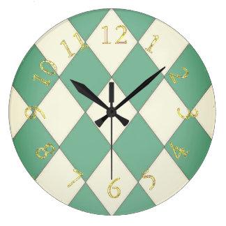 Harlequin_Stylish & Elegant-Royal Teal-Gold Large Clock