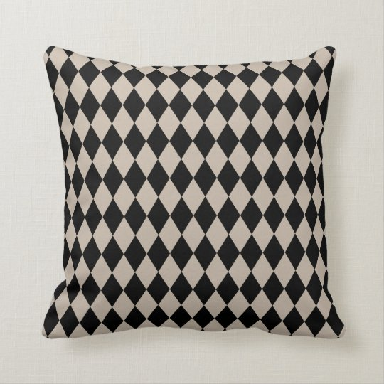 Harlequin Tan and Black Throw Pillow