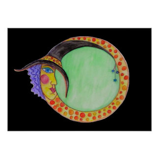 Harlequin Witch Moon Magic Halloween Black Poster