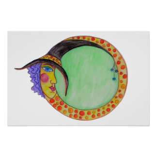 Harlequin Witch Moon White Magic Poster Decor