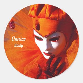 Harlequin With Orange Costume And White Mask Round Sticker