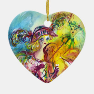 HARLEQUINA PLAYING VIOLIN WITH CAT CERAMIC HEART ORNAMENT