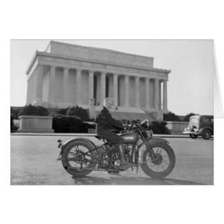 Harley Davidson Motorcycle - First Woman Greeting Cards