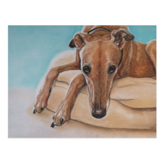 Harley Greyhound Dog Art Postcard