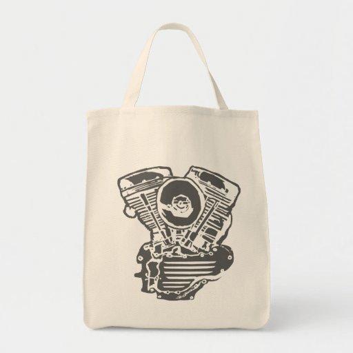 Harley Panhead Engine Drawing Tote Bags