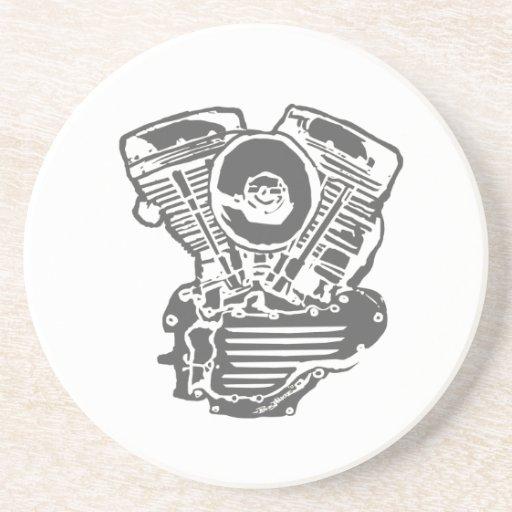 Harley Panhead Engine Drawing Beverage Coaster