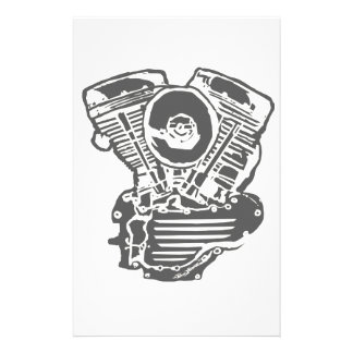 Harley Panhead Engine Drawing Custom Stationery