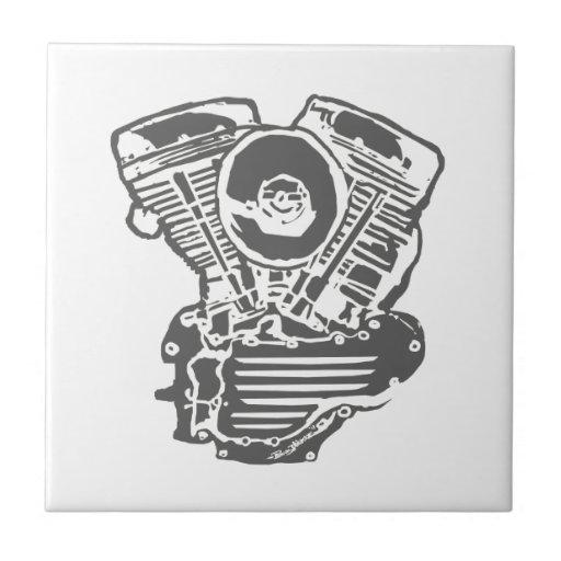 Harley Panhead Engine Drawing Ceramic Tile