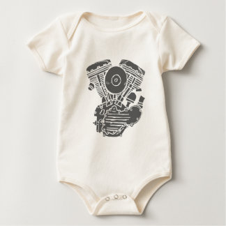 Harley Panhead Motor Drawing Baby Bodysuit