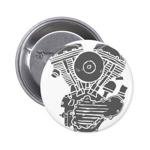Harley Panhead Motor Drawing Pinback Button