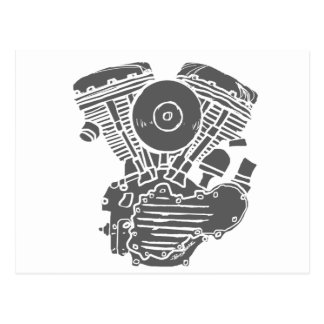 Harley Panhead Motor Drawing Postcard