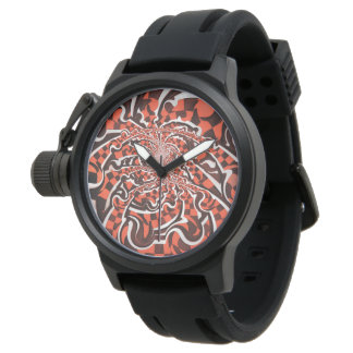Harley Quinn's Peppermint Candycan Kissed Fractals Wrist Watches