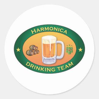 Harmonica Drinking Team Classic Round Sticker