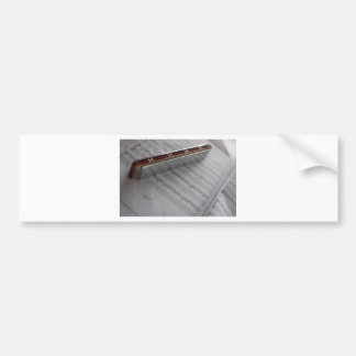Harmonica Music Notes Book Bumper Sticker