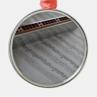 Harmonica Music Notes Book Metal Ornament