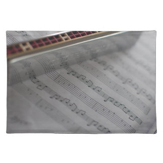 Harmonica Music Notes Book Placemat